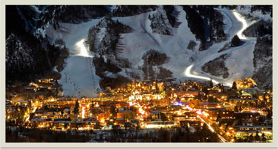 Ski Slopes at Night Spotlight