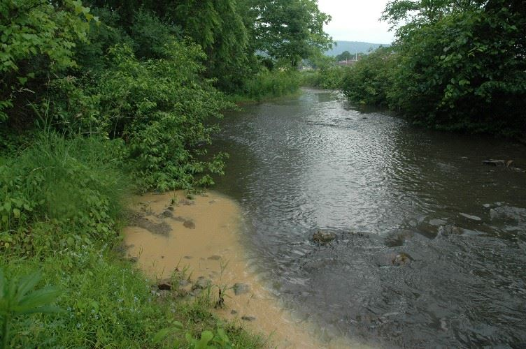 Sediment pollution in a river